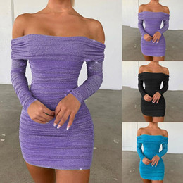 Wholesale bosom skirt dress resale online - Womens Sex Pure Color Wipe Bosom Dress Shoulder Long Sleeve Dress Bodycon Party Tunic Slim Package Hip Skirt