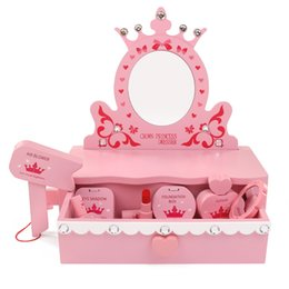 Big Makeup Gift Sets UK - Safety Wooden children's makeup toy Simulation wooden dressing table mirror Princess cosmetics set toys for children girls gift