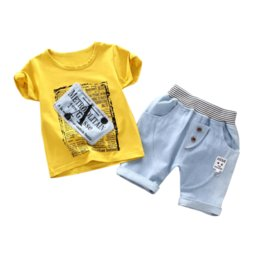 toddler girl jeans shorts UK - Children Fashion Clothes New Summer Kids Boys Girls Print T Shirt Jeans Shorts 2pcs sets Baby Infant Clothing Toddler Sportswear