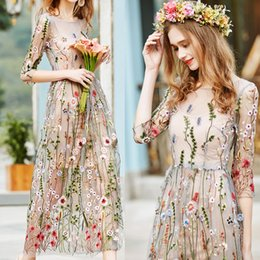 hot piece night dress Canada - 2020 Hot Women 2 piece Long Formal Dress Flower embroidery Female Casual Beach dress Ladies Long Mesh Dresses Women Party Elegant Dresses