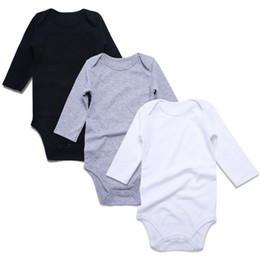 c01e2f510a152 3 Pcs Newborn Body Suits Unisex Rompers Solid Black White Long Sleeve Babes Overall  Cotton Baby Clothing Set Q190520