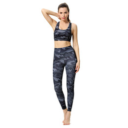 yoga crop pants UK - Womens Sports Yoga Set Super Elastic Athletic Gym Outfit Running Training Fitness Suit Digital Print Bra Tops Workout Leggings Cropped Pants