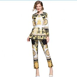 Chinese  Women Retro Set Traditional Dress Suit long sleeve European Noble Gold Floral Printed Shirt + Pleat Skirt Pant Casual Suits GGA1633 manufacturers