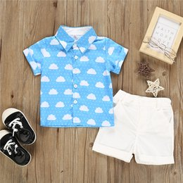 $enCountryForm.capitalKeyWord Australia - Boys kids clothes Outfits short sleeves Cloud Printed polo shirt Tops+Shorts 2 pieces set kids designer clothes boys JY567