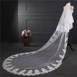 $enCountryForm.capitalKeyWord Australia - Two Layers Long Bridal Veils Applique Lace Church Garden Country Wedding Veils Bridal Occasion Accessories Custom Made