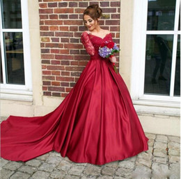 Train Works Australia - New Arrivals Chinese Red Hot Ball Gown Wedding Dress for Sale Pakistani Satin Long Sleeve New Hand Work Design Wedding Dress