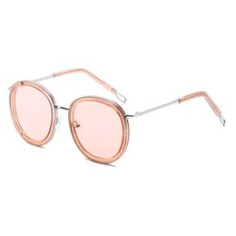 lady sunglasses gold UK - New High-End Women's Round Frame Sunglasses Women's Brand Designer Sunglasses Round Lens Europe And America Ladies Gold Frame Round Goggles