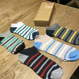 Sock Packs Australia - Stripe Cotton Short Socks Joker Spring Summer 5 Pairs Packed Socks Soft Men And Women Ankle Socks