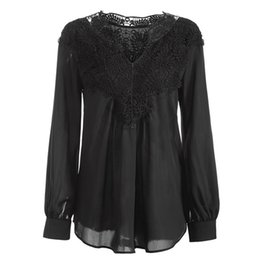 Hollow Shirt Australia - Fashion Women Autumn Blouse Office Women Lady Hollow Lace Loose Shirts Long Sleeve Tops