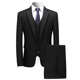 Tux Suits NZ - Men's 3 Piece Suit Set Slim Fit One Button Blazer Tux Vest & Trousers Business Dress Great for office, meeting, dates, wedding, prom