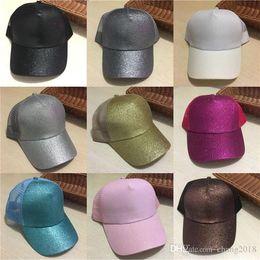 Mesh Fiber Australia - 2018 New Sequins Fluorescent Baseball Caps With Foams Mesh Classic Visor Hat Fashion Girl Pony Tail Back Hole ge001