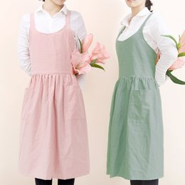 Discount dress styles for working women - 2019 New Nordic Wind cotton linen Style apron dress Coffee shops work cleaning aprons for woman kitchen Baking daidle bi