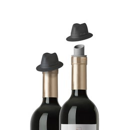 Wholesale Bar Gadgets NZ - Silicone Wine Bottle Stopper Wine Cork Plug Jackson Black Top Hat Cowboy Hat Barware Bar Tools Funny Cute Toys Gadget D19011702