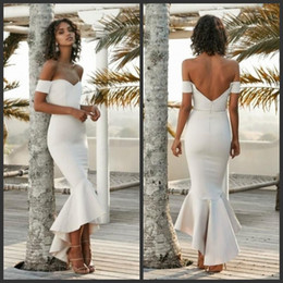 $enCountryForm.capitalKeyWord NZ - White Charming Mermaid Prom Dresses Sweetheart Short Sleeves Sexy Backless Bridal Gowns High Low Rufflus Frormal Evening Dresses