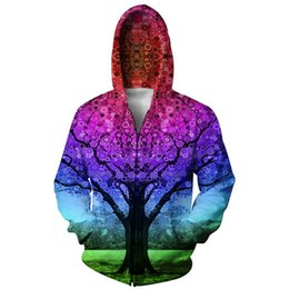 mixed color hoodie UK - 2016 Fashion Harajuku Jacket Sweatshirt Hoodies Men Red Snow Tree 3D Print Hip Hop Coats Casual Hooded Mixed Color For Unisex
