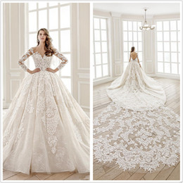 $enCountryForm.capitalKeyWord Australia - Newest Luxury Lace Arabic Ball gown Removable Long Train Wedding Dresses Dubai Bridal Gowns Heavy Bodice Backless Bridal Dress free shipping