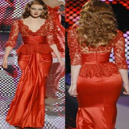 $enCountryForm.capitalKeyWord NZ - Coral zuhair murad prom dresses Mermaid V neck Top Lace sleeves Evening Gowns For lebanon Women 2018 Tight Floor Length Formal Dress 2015