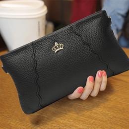 decoration purses 2019 - Casual Style Crown Decoration Clutch Wallet Genuine Leather Solid Color Zipper Envelope Purse Fashion Crossbody Shoulder