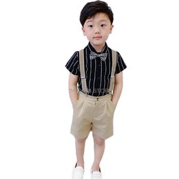 Chinese  Boys School Uniform Clothing Set Kids Formal Strap Shirt +Shorts Wedding Birthday Dress Children Piano Dance Performance Costume manufacturers