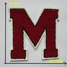 $enCountryForm.capitalKeyWord NZ - high quality letter red M sewing applique clothes sewing ironing patches clothing badge DIY patch accessories 1pcs for sale