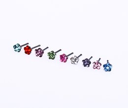 316l surgical steel nose ring Australia - wholesale Jewelry Nose Studs Rings Pin Flower Body Piercing Jewelry 316L Surgical Steel Multicolor Crysaly Gem Tragus Popular