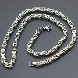 $enCountryForm.capitalKeyWord Australia - Mens Chain Double film 5mm 6mm Silver Tone 316 Stainless Steel Byzantine Box Link Necklace Chain