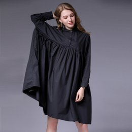 Small Fat UK - 2019 large size women's autumn new fat mm200 kg small lapel wrinkled cotton loose dress F270