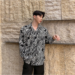71a7a4f67cb2b Fashion Zebra Print Long Sleeve Shirt Male Camisa Masculina Party Harajuku  Male Punk Gothic Clothing Fashion Dress Shirts Men
