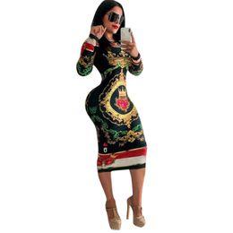 $enCountryForm.capitalKeyWord Australia - 2018 Autumn Long Sleeve O-neck Poker Playing Cards Vintage Chain Print Dresses Women Sexy Bandage Nightclub Midi Dress Y133 J190621