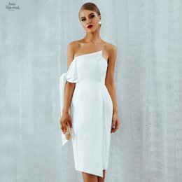 ElEgant cElEbritiEs chiffon drEss online shopping - Celebrity Party Dress Women New Summer Arrival Casual White One Shoulder Elegant Tassels Club Dresses Button Vestidos