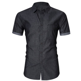 Wholesale men s bamboo shorts for sale - Group buy US Size Cotton Mens Short Sleeve Casual Shirt Men Social Business Dress Shirts Camisa Masculin Chemise Homme