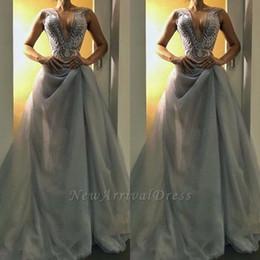 Deep v grey Dress online shopping - Glamorous V Neck Long Grey Evening Dress Sleeveless Prom Dress Tulle Bottom Mermaid Event Party Dresses Customize