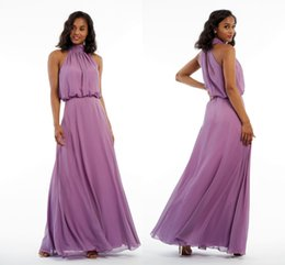 6a69a0aa9d6f 2019 Elegant High Neck Bridesmaids Dresses Chiffon Keyhole Back Empire  Summer Style Bridesmaid Dress Formal Party Dress Gowns Cheap