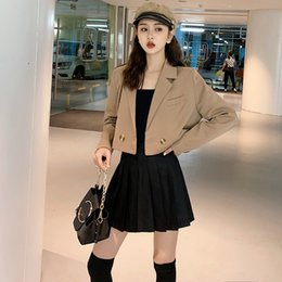 celebrity suit new Australia - 2019 brief paragraph small suit jacket lapel web celebrity female suit jacket in the spring and autumn outfit new Coats spring SH190930