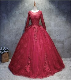 $enCountryForm.capitalKeyWord Australia - Ball Gown Wine Red Wedding Dresses With Long Sleeves Beaded Lace Jewel Neck Illusion Sleeves Back Gothic Burgundy Bridal Gowns Custom Made