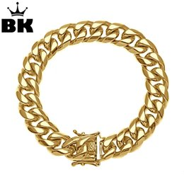 snake chain 23cm Canada - 8mm 10mm 12mm 14mm Stainless Steel Miami Curb Cuban Bracelet Mens Hip Hop Thick Gold Filled Cuban Link Heavy Bracelet 23cm