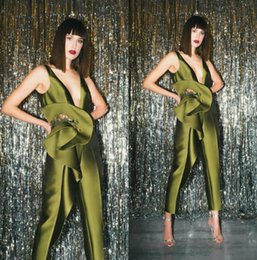 Deep Neck Suit Australia - 2019 Green Prom Jumpsuits Dresses Deep V Neck Satin Ruffles Appliqued Satin Evening Gowns Luxury African Party Dress Women's Pant Suits