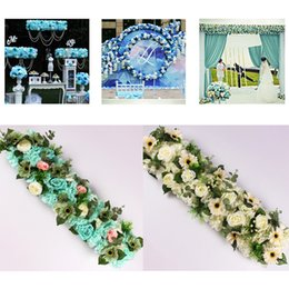 Rose Road wedding online shopping - Artificial Flower Row Luxurious Wedding Decor Rose Flower Row Silk Road Cited Flowers Arched DIY Background Flower Wall Table Catwalk Decor