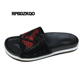 69660d45a Genuine Leather Summer Slides Native Designer Shoes Men High Quality Sandals  Nice Silver Slippers Open Toe Rhinestone Luxury
