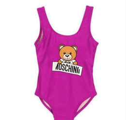 Swim wear babieS online shopping - New Hot Summer Kids Bear Pattern Swimwear Baby Girls Bikini Swimwear One Piece Letter Swimsuit Swimming Wears