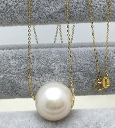 $enCountryForm.capitalKeyWord Australia - 12MM Edison big natural pearl pendant single road pass necklace, 18K gold clavicle chain