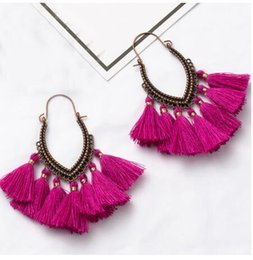 Chinese  Fringe Vintage Boho Bohemian Ethnic Tassel Drop Dangle Hanging Earrings for Women Female 2018 New Trendy Jewelry Accessories GB563 manufacturers