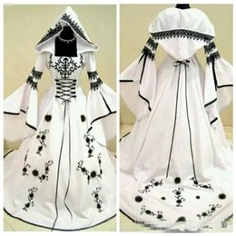Custom Wedding Hats Australia - 2019 Custom A-Line Black Lace Embroidery White Satin Gothic Wedding Dresses With Hat Bridal Gowns Flowers Adorned Vestidos De Mariee
