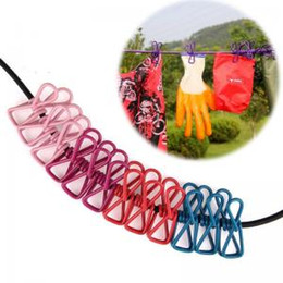 Clothes Hanger Rope Australia - outdoor Clothes Line with 12 clips Travel line Portable Telescopic Elastic Socks Hangers Rope Hang out clothesline Gadgets AAA1744