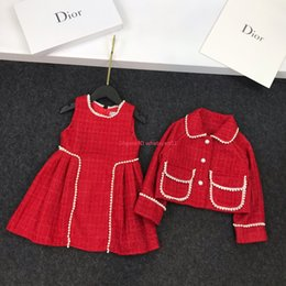 $enCountryForm.capitalKeyWord Australia - Autumn girls vest skirt sets kids designer clothing jacket + sleeveless dresses 2pcs pearl embellishment fashion charm coat sets
