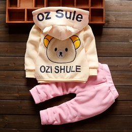 korean kids clothes winter autumn Australia - Kids Designer Clothes Autumn And Winter Models For Men And Women Can Be Worn Plus Velvet Thick Cartoon Bear Three-piece Korean Baby Suit