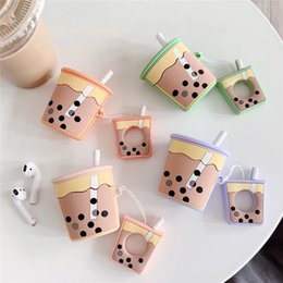 cute rings for fingers 2019 - For AirPods Case Cartoon Cute Funny Milk Bubble Tea Drink Bottle Earphone Protect Cover For Airpods 2 with Finger Ring S