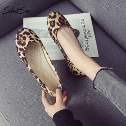 a4f4e7eae6d0 Silentsea Women Flat Shoes 2019 Spring Flock Ballet Flats Shoes Leopard  Slip-on Loafers Woman Boat Zapatillas Mujer