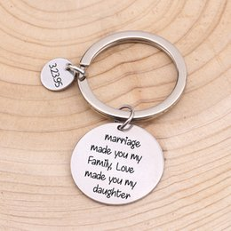 Cartoon Stamping Australia - Private Customized Keychain Hand Stamped Gift For Daughter Jewelry Fashion 3 Color Date Personalized Key Accessories Bag Charm