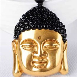 Obsidian Pendants Men Australia - Natural Obsidian Pure Gold Color Buddha Head Pendant Men and Women Crystal Shakya Mani Buddha Necklace Pendant Jewelry